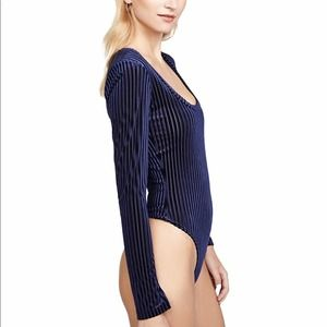 Only Hearts Blue Ribbed Scoopneck Thong Bodysuit